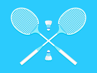 Сrossed badminton rackets and shuttlecock. Flat design. Vector illustration