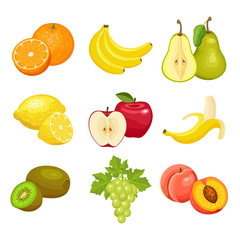 Set of fresh fruits  isolated on white background. Orange, banana, pear, lemon, Apple, kiwi, grapes, peach. Vector colorful icons.