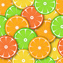 Seamless pattern with citrus fruit. Colorful illustration.