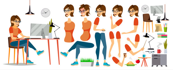 Business Woman Character Vector. Working Female Girl. Clerk Working At Office Desk. Animation Set. Attractive Lady. Emotions. Cartoon Illustration