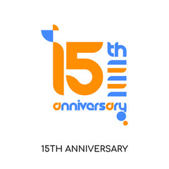 15th anniversary logo isolated on white background for your web, mobile and app design