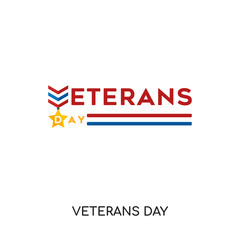 veterans day logo isolated on white background for your web, mobile and app design