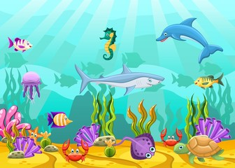 Marine Life Landscape ocean or sea underwater world with different inhabitants.Undersea world with funny charactes coral, reef, rock, fish, crab, plant and herb. Wildlife vector illustration