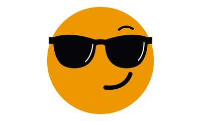 Smiling Face With Sunglasses Emoji vector illustration.