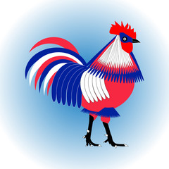 Stylized three-color chicken rooster isolated on a light blue background. Vector flat design.
