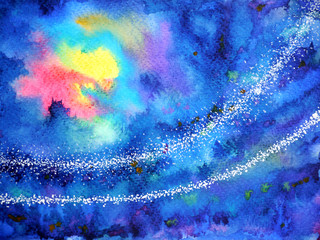 abstract artwork yellow red light sun moon on dark blue sky night watercolor painting illustration background hand drawn