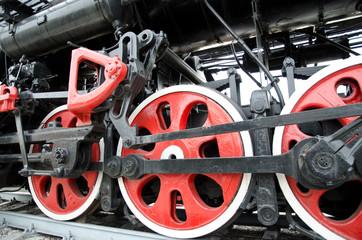 driving wheels vintage, retro locomotive. USSR. Russia