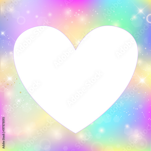 Heart frame magic background with rainbow mesh\