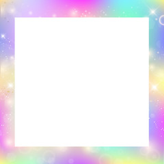 Magic border with rainbow mesh and space for text.
