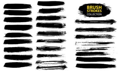 Vector large set different grunge brush strokes.
