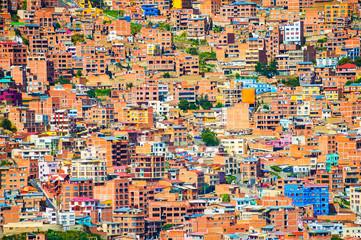 Traditional bolivian houses in La Paz city, Bolivia