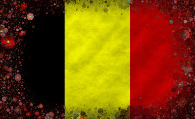 Illustration of a Belgian flag with a blossom pattern
