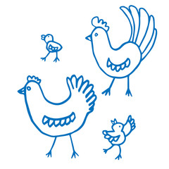Birds set. Hen, rooster, chickens. Blue sketch of farm animals isolated on white background. Funny animal doodles. Cartoon characters for kids, prints, interior, design, fabric, wraps gifts, Easter