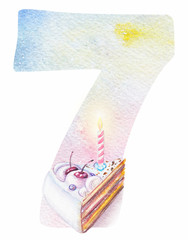 Watercolor alphabet. Watercolor number seven with cake and leves. Monogram for birthday invitations and cards