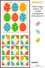Easter holiday themed visual logic puzzle with painted eggs pattern: What of the 2 - 10 are not the fragments of the picture 1?  Answer included.