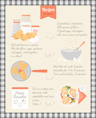 Home Cooking Recipe. Cooking potato pancakes, step by step instructions, ingredients.