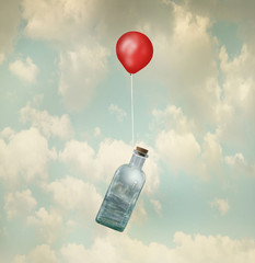 Spoed Fotobehang Surrealisme Surreal image representing a glass bottle with a stormy sea inside carried by a red balloon flying in the clouds