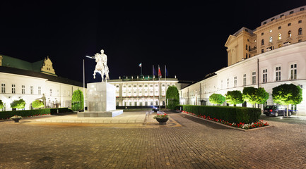 Warsaw, Poland - 21 August 2016 - Presidential Palace in Warsaw, Poland, on a night with dark sky above.