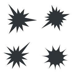 Starburst splash star black icon set, vector illustration