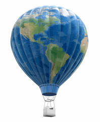 Hot Air Balloon with World Map. Image with clipping path