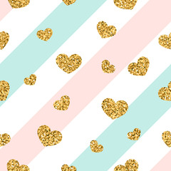 Gold heart seamless pattern. Pink-blue-white geometric stripes, golden confetti-hearts. Symbol of love, Valentine day holiday. Design wallpaper, background, fabric texture. Vector illustration