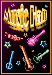 Music-hall is an illustrated poster, with musical instruments