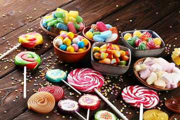 Spoed Foto op Canvas Snoepjes candies with jelly and sugar. colorful array of different childs sweets and treats.