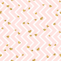 Gold heart seamless pattern. Pink-white geometric zig zag, golden confetti-hearts. Symbol of love, Valentine day holiday. Zigzag design wallpaper, background, texture. Vector illustration