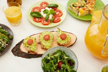 Tapas, juice and salad