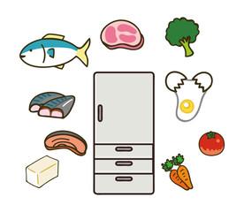 冷蔵庫と色んな食材のイラスト