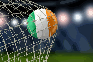 Irish soccerball in net