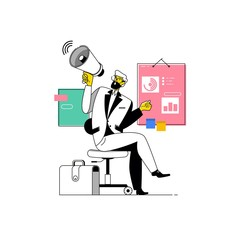 Businessman shouting into megaphone.Make an announcement. Flat vector illustration