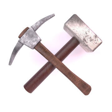 3d render hammer and pick isolated