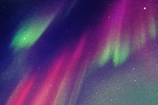 Vector illustration with beautiful starry sky and Northern lights. Abstract colorful background with aurora borealis