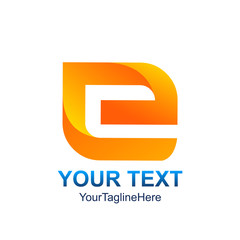 Initial letter E logo template colored orange design for business and company identity