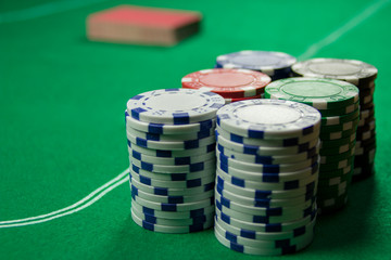Poker Chips with Deck of Cards