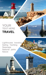 Lighthouses photo collage. Yachting. Cruises. Travel concept