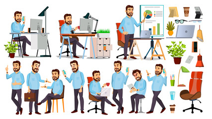 Boss Character Vector. CEO, Managing Director, Representative Director. Poses, Emotions. Boss Meeting. Cartoon Business Illustration