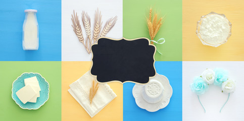 Top view collage image of dairy products. Symbols of jewish holiday - Shavuot.