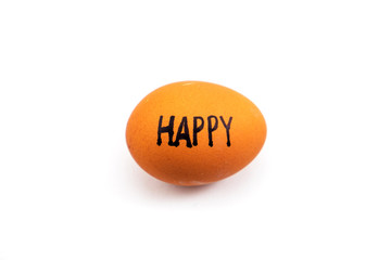 'HAPPY' text on egg isolated on white background