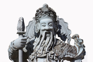 Chinese gods guardian statues isolated