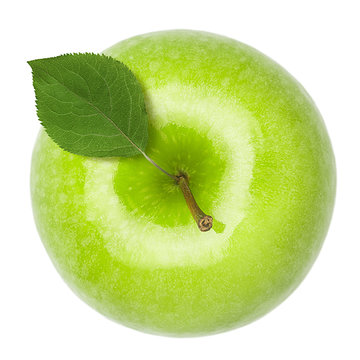 Green juicy apple isolated on white background, clipping path