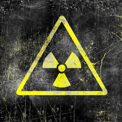 Nuclear radiation sign on old grungy wall. Symbol of radiation contamination. Monochrome black yellow illustration