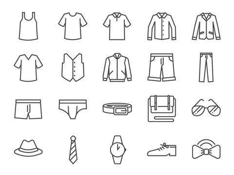 Men clothes icon set. Included the icons as shorts, workwear, fashion, jean, shirt, pants, accessories and more.