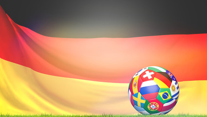 flags soccer football ball Germany 3d rendering