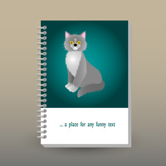 vector cover of diary or notebook with ring spiral binder - format A5 - layout brochure concept - cerulean green blue turquoise colored with gray british shorthair cat