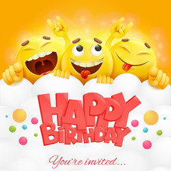 Smiley yellow faces emoji characters. Happy birthday card.