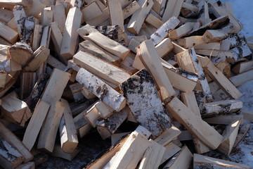 Foto op Canvas Brandhout textuur firewood cleft timber