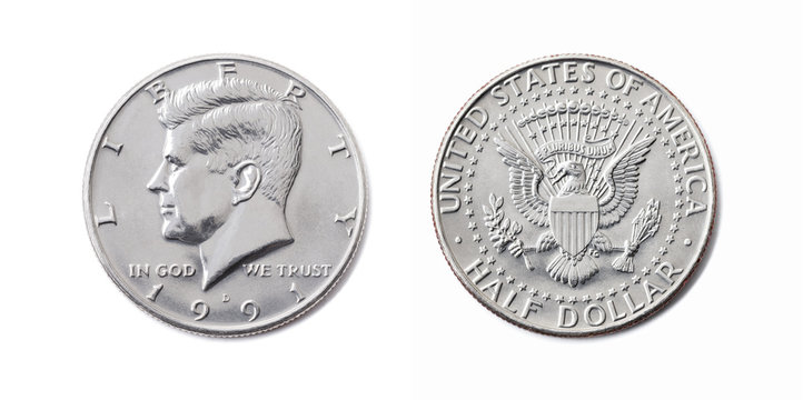american half dollar coin, Fifty cent, 50 c, USA 1/2 dollar isolate on white background. John F Kennedy on silver coin realistic photo image