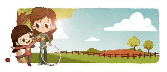 Niños en el campo al aire libre